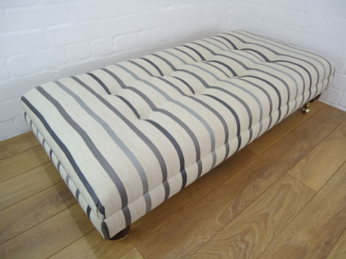 hand Made Custom Footstool - Laura Ashley Luxford Charcoal